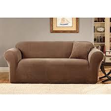 one piece stretch sofa slipcover amazon com sure fit stretch metro 1 piece sofa slipcover brown