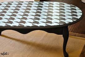 furniture classy round houndstooth stencils painting coffee table