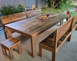 Patio Dining Set With Bench Outdoor Dining Table Etsy