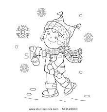 coloring outline cartoon boy jumping stock vector 541149952