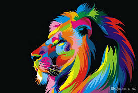 2017 beautiful poster painting dazzle colour lion painting