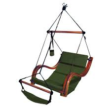 Lounge Swing Chair Amazon Com Deluxe Lounger Hammock Chair With Wooden Armrest