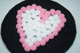 valentine u0027s day craft for kids pompom coasters heartworkorg com