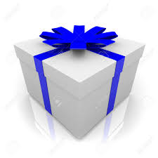 white blue ribbon a white wrapped gift box with blue ribbon and bow stock photo