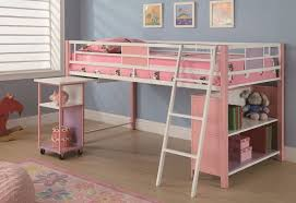 bedroom affordable metal loft bunk bed with desk underneath and