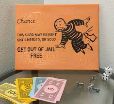 monopoly art chance card get out of jail free board game