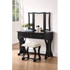 Lighted Vanity Table With Mirror And Bench Makeup Tables And Vanities You U0027ll Love Wayfair
