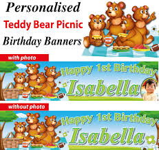 personalised teddy bear picnic birthday party banner