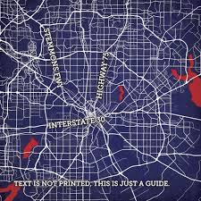 Dallas Tx Map Dallas Texas Map Art City Prints