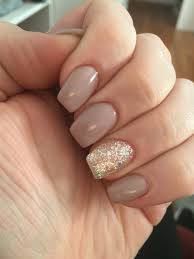 classy tan acrylic nails with silver accent nail so pretty