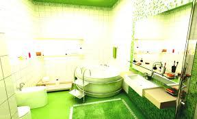 bathroom green tile white wool rug modern shower arafen