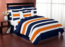 blue and orange bedding navy blue and orange stripe 4pc twin teen bedding set collection
