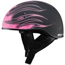 pink motocross gear gmax gm65 skull flame half helmet jafrum