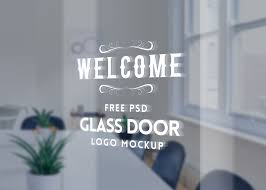 glass door signs window logo sticker mockup mockupworld