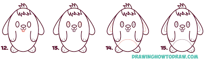 how to draw a cute cartoon bunny rabbit from an oval easy step