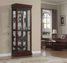 recessed baseboards furniture enchanting curio cabinets with curved glass door on