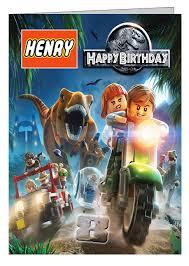 lego jurassic world personalised birthday card folksy