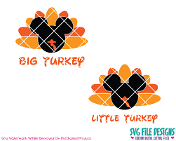 mouse big turkey turkey thanksgiving svg cut file set