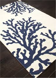 coral branch out area rug navy blue and white beach decor