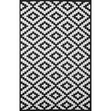 Black And White Outdoor Rug Ave Black Indoor Outdoor Rug Reviews Wayfair Uk