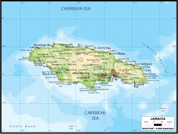 jamaica physical map large road map of jamaica