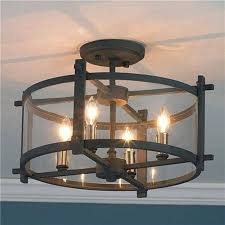 Large Semi Flush Ceiling Lights Industrial Edison Bulb Wrought Iron 8 Light Large Semi