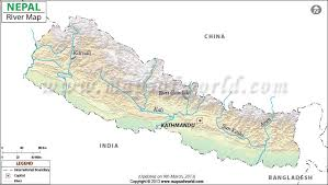 map of nepal and india river map