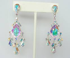 clip on chandelier earrings clip earrings made with swarovski rhinestones