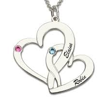 Personalized Necklaces For Her Personalized Intertwined Hearts Birthstone Necklace Engraved