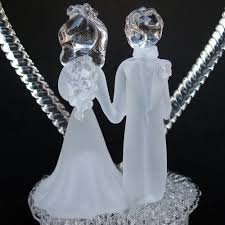glass wedding cake toppers and groom figurine blown glass wedding cake