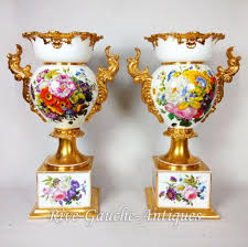 Chinese Hand Painted Porcelain Vases Pair Of 18 U201d Tall Old Paris Porcelain Vases With Hand Painted Roses