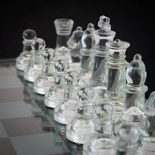 glass chess set medium size made entirely from glass menkind