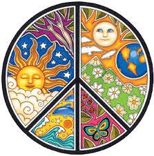 sun moon seasons peace sign bumper sticker decal 4 5 x 4 5