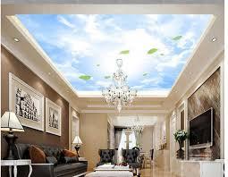 pittura soffitto foglie cielo nuvole bianche tetto soffitto carta da parati