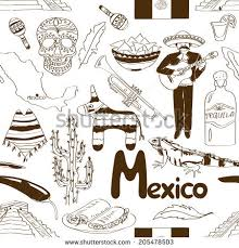 fun sketch mexico seamless pattern stock vector 205478503
