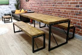 steel and wood table industrial dining table with steel frames and reclaimed wood