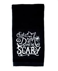 gothic home decor eat drink and be scary halloween hand towel kitchen and bath