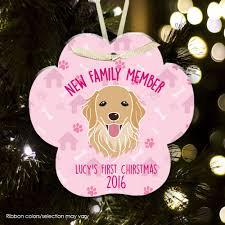pet christmas ornament puppy first christmas paw print