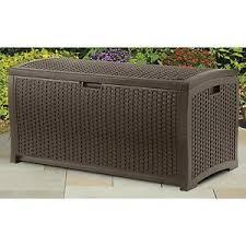 Patio Cushion Suncast Mocha Wicker Resin Deck Box Outdoor Patio Cushion Storage