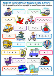 means of transportation esl printable worksheets and exercises
