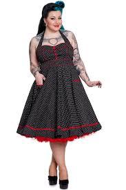 hell bunny plus size rockabilly black u0026 white polka dot w red trim