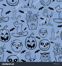 halloween black and white bats background seamless pattern halloween icons pumpkin bat stock vector
