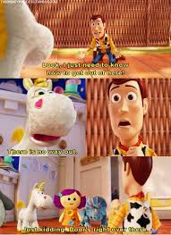 Meme Toy Story - buttercup messes with a panicking woody in disney s toy story 3