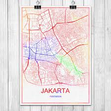 aliexpress jakarta colorful world city map jakarta indonesia print poster abstract