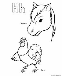 horse and hen alphabet s printable9249 coloring pages printable