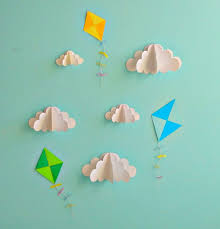 kite decals paper decals wall decals wall art 3d paper