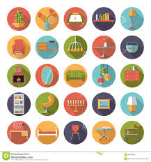 Home Interiors Collection by Home Interior Flat Design Vector Icons Collection Stock Vector