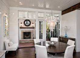 painted wood walls white painted wood paneling dining room traditional with exposed