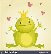 illustration of cute cartoon frog prince