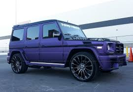 matte purple maserati mbz g55 wald black bison wrapped in purple metallic matte brushed
